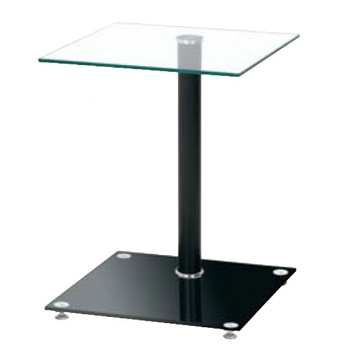 Quadro Clear Glass Top Bistro Black Side Table