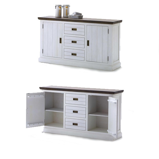 Gomera Small Sideboard In Acacia White With 2 Door And 3 Drawers