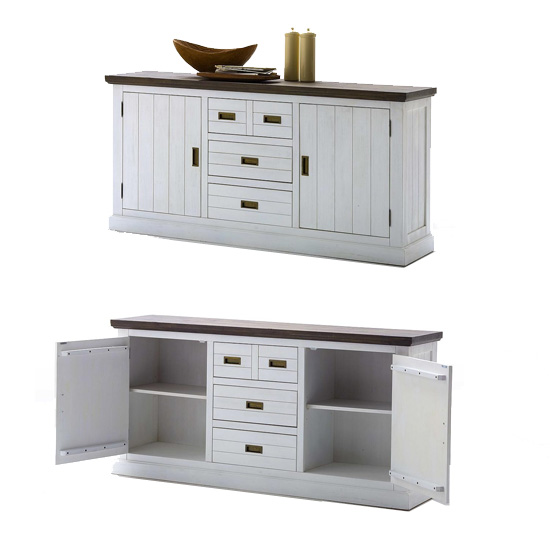 Gomera Wooden Sideboard In Acacia White With 2 Door And 3 Drawer