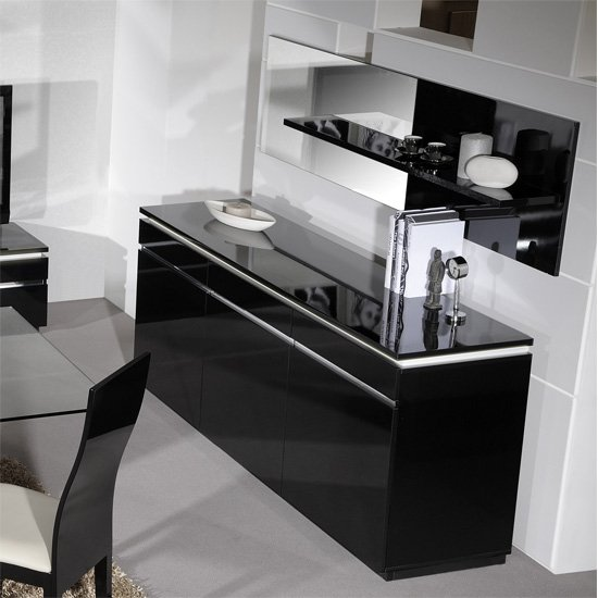high gloss black sideboard with lighting 3 doors buy modern high