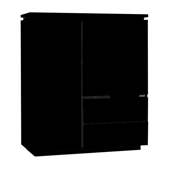 View Elisa highboard in high gloss black with 2 doors and 2 drawers
