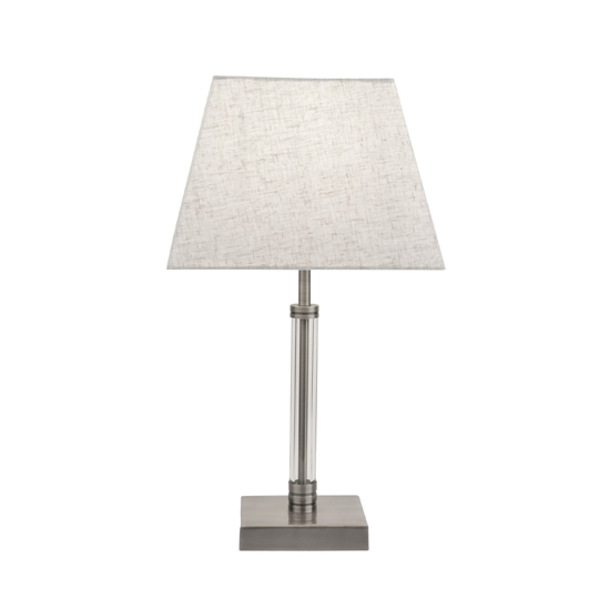 Siena Table Lamp With Clear Cyclinder Frame In Satin Nickel