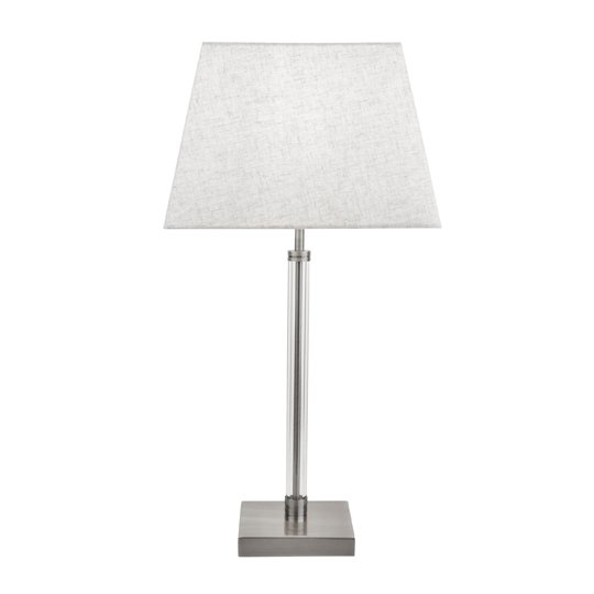 Siena Table Lamp With Clear Cylinder Frame In Satin Silver