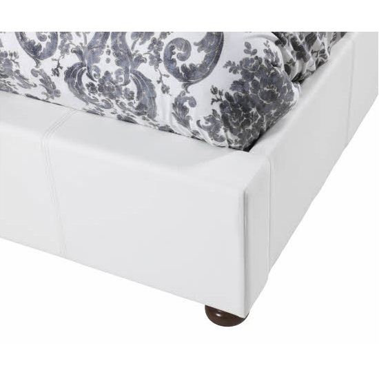 Georgina Modern Super King Bed In White Faux Leather_3