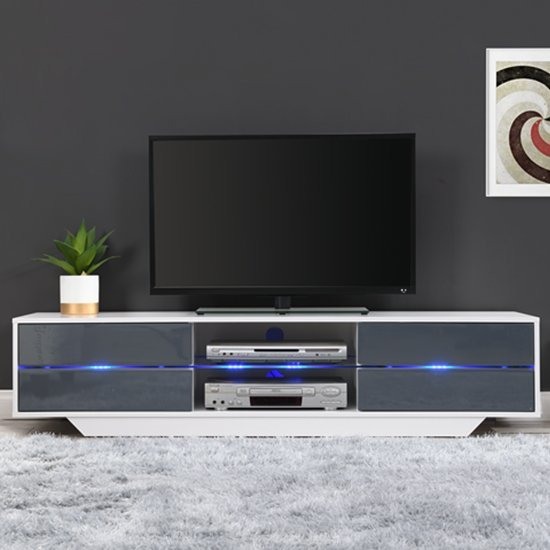 Sienna White And Grey High Gloss TV Stand With Multi LED Lights_1