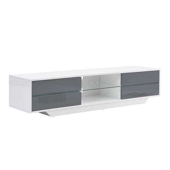 Sienna White And Grey High Gloss TV Stand With Multi LED Lights_3