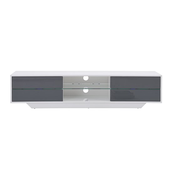 Sienna White And Grey High Gloss TV Stand With Multi LED Lights_4