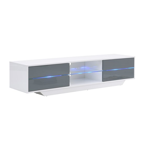 Sienna White And Grey High Gloss TV Stand With Multi LED Lights_5