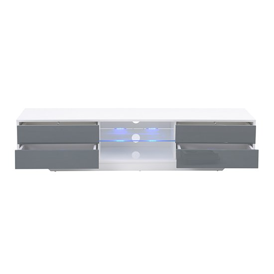 Sienna White And Grey High Gloss TV Stand With Multi LED Lights_6