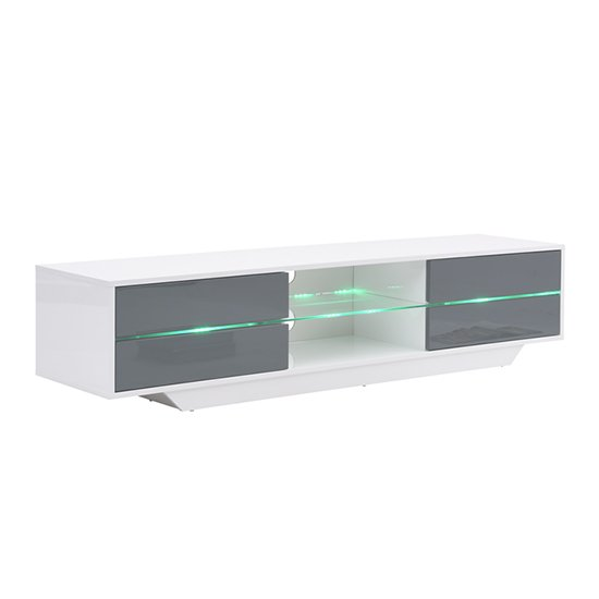 Sienna White And Grey High Gloss TV Stand With Multi LED Lights_7