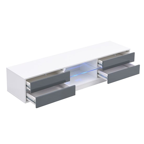 Sienna White And Grey High Gloss TV Stand With Multi LED Lights_8