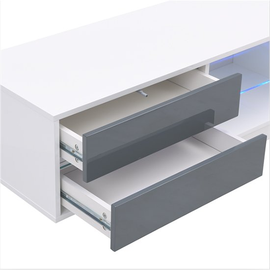 Sienna White And Grey High Gloss TV Stand With Multi LED Lights_9