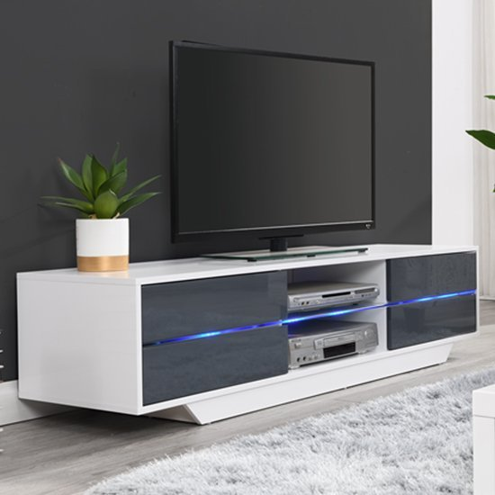Sienna White And Grey High Gloss TV Stand With Multi LED Lights_2