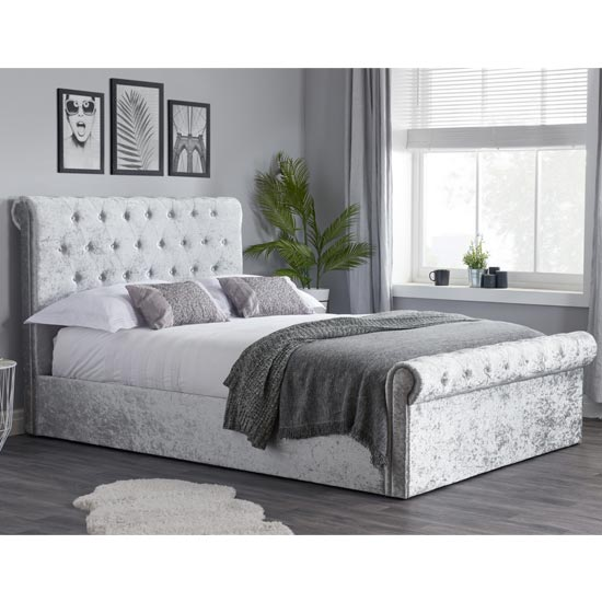 Sienna Side Fabric Small Double Bed In Steel Crushed Velvet