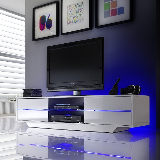 Sienna TV Stand Unit In High Gloss White With Multi Led Lights_1
