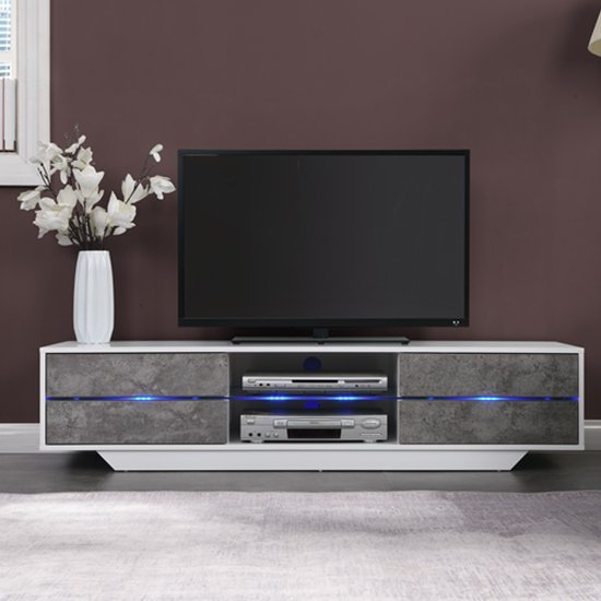 Sienna White Gloss And Concrete Effect TV Stand With Multi Led