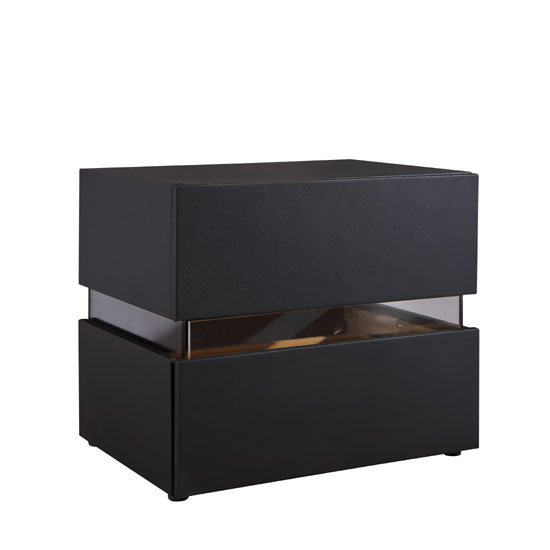 Sienna Bedside Cabinet In Black With 2 Drawers And LED_2