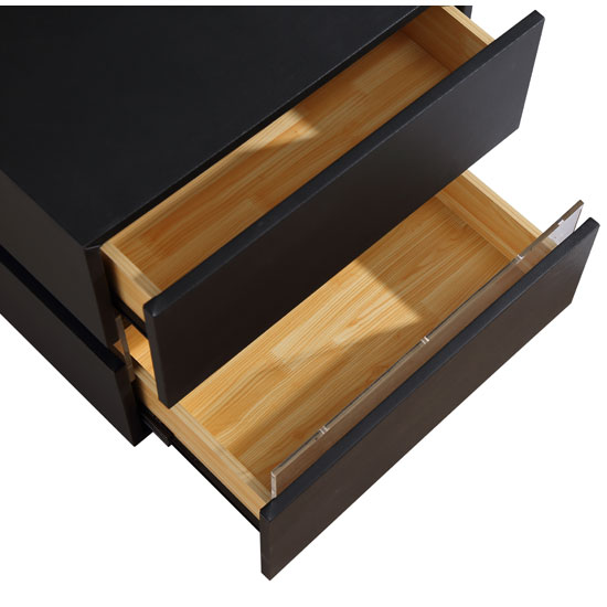 Sienna Bedside Cabinet In Black With 2 Drawers And LED_3