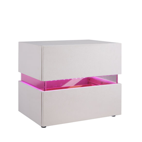 Sienna Bedside Cabinet In White With 2 Drawers And LED