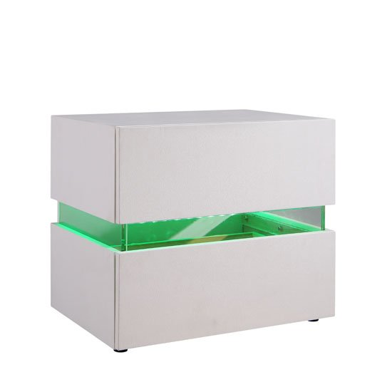 Sienna Bedside Cabinet In White With 2 Drawers And LED_2