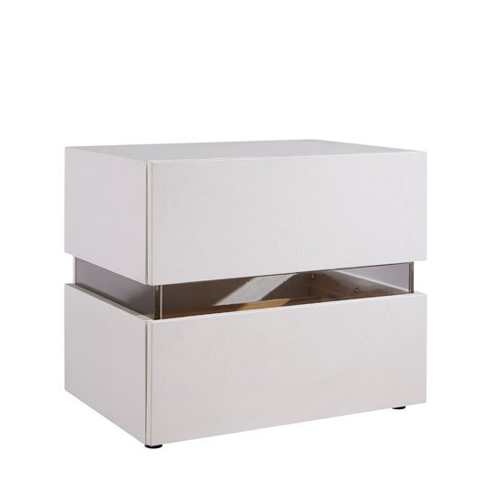 Sienna Bedside Cabinet In White With 2 Drawers And LED_3