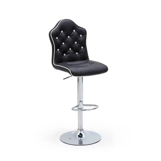Sigma Bar Stool In Black Faux Leather With Chrome Base