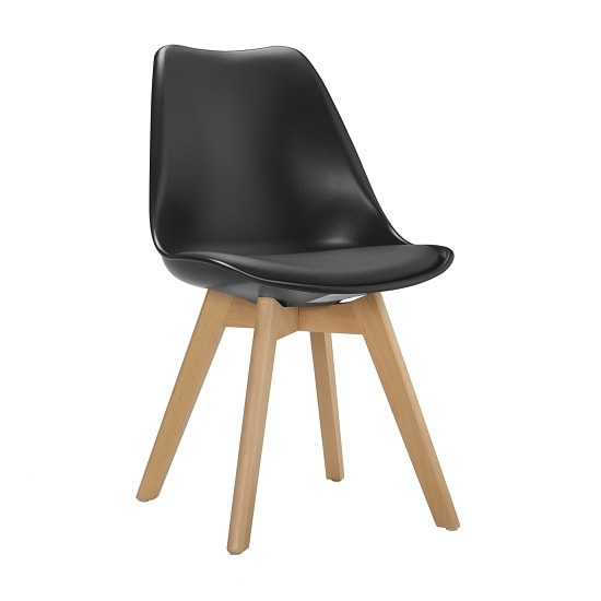 Sigmon Dining Chair In Matt Black PU Seat With Solid Beech Legs