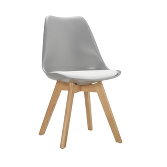Sigmon Dining Chair In Matt Grey With White PU Seat
