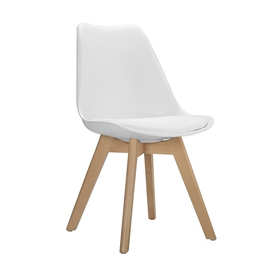 Sigmon Dining Chair In Matt White PU Seat With Solid Beech Legs