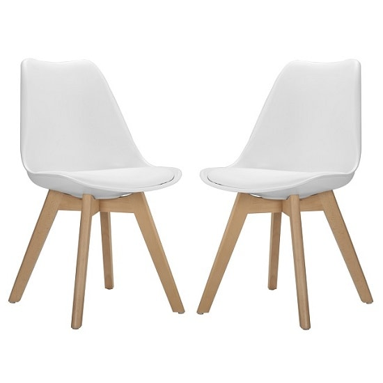 Sigmon Modern Dining Chairs In Matt White PU Seat In A Pair