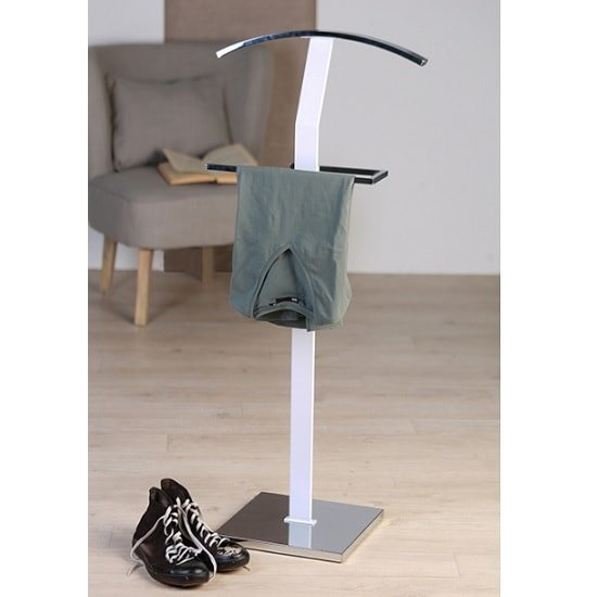 Signa Metal Clothes Valet Stand In Brilliant White 32975