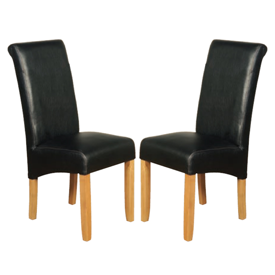 Sika Black Leather Air Dining Chair In Pair