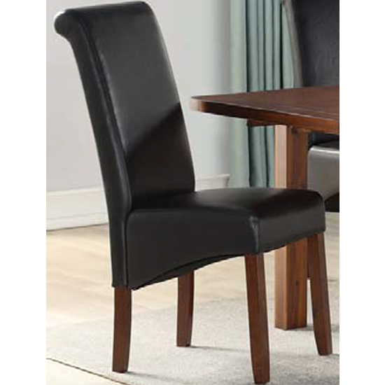 Sika Black Leather Dining Chair With Acacia Legs_2