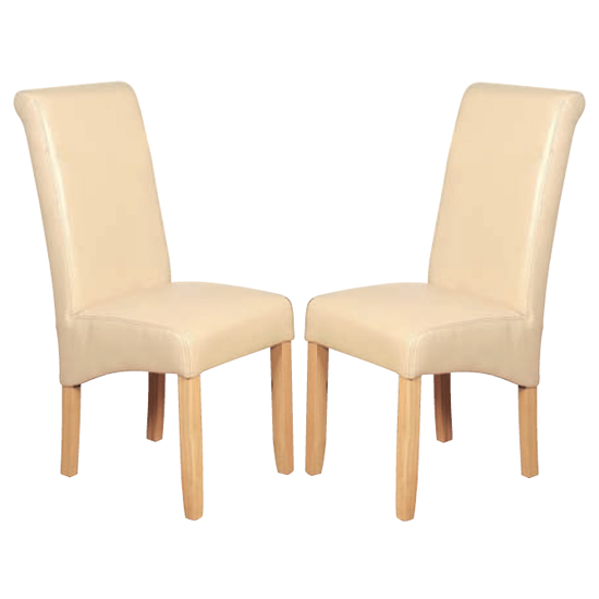 Sika Cream Leather Air Dining Chair In Pair