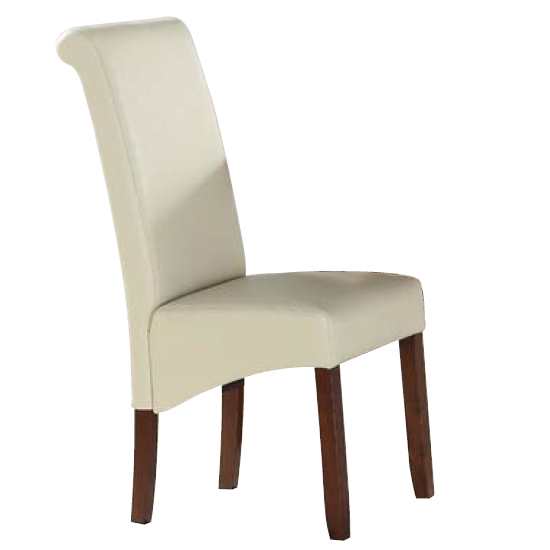 Sika Cream Leather Dining Chair With Acacia Legs