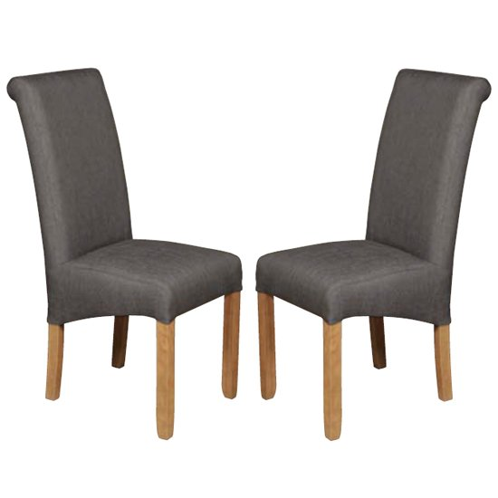 Sika Grey Fabric Dining Chair In Pair