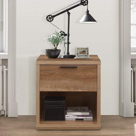 Silas Wooden Bedside Cabinet In Rustic Oak Effect With 1 Drawer_2