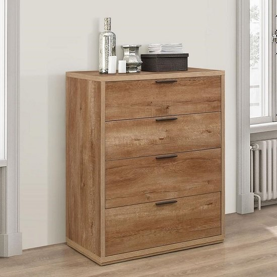 Silas Chest Of Drawers In Rustic Oak Effect With 4 Drawers