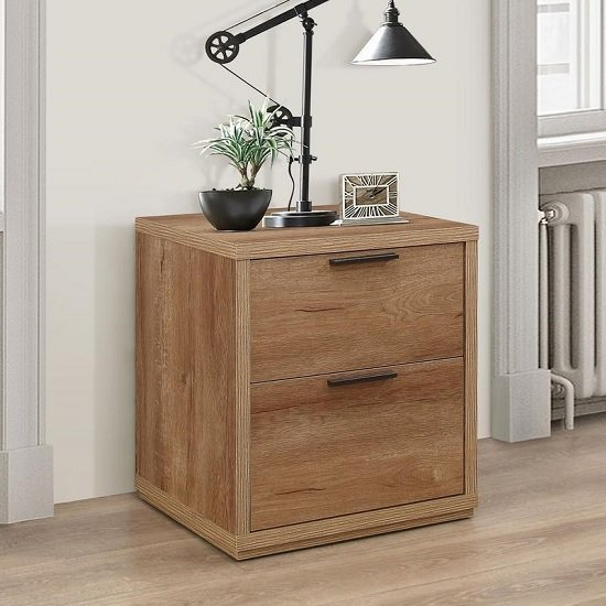 Silas Wooden Bedside Cabinet In Rustic Oak Effect With 2 Drawers