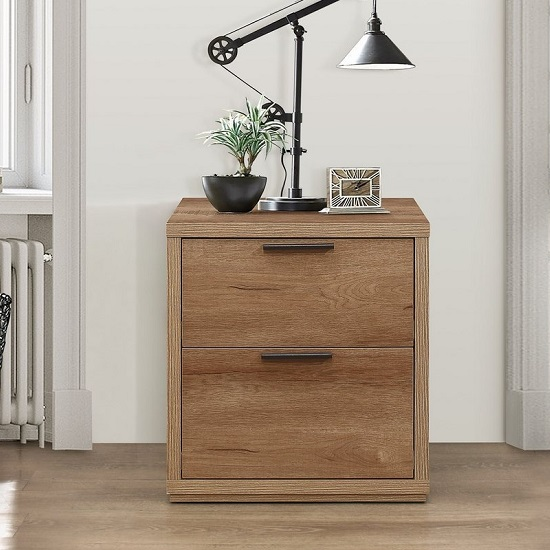 Silas Wooden Bedside Cabinet In Rustic Oak Effect With 2 Drawers_2