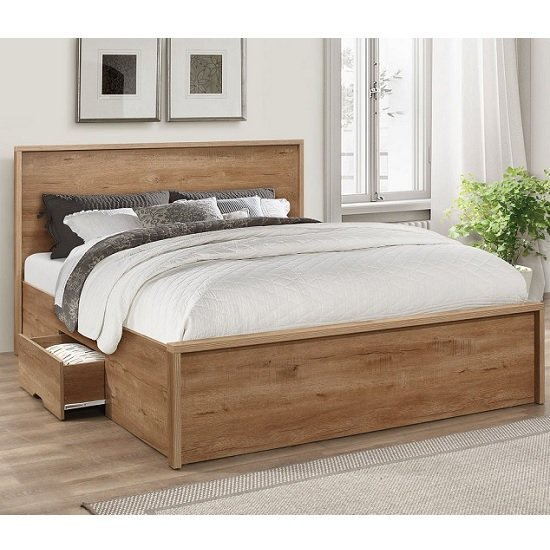 Silas Wooden Double Bed In Rustic Oak Effect With 2 Drawers
