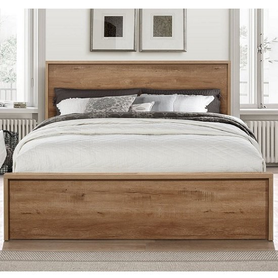 Silas Wooden King Size Bed In Rustic Oak Effect With 2 Drawers_2