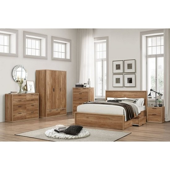 Silas Wooden King Size Bed In Rustic Oak Effect With 2 Drawers_4