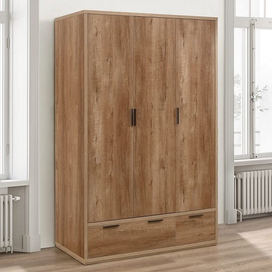 Silas Wooden Wardrobe Wide In Rustic Oak Effect With 3 Doors