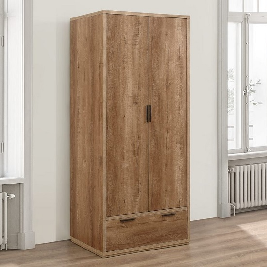 Silas Wooden Wardrobe In Rustic Oak Effect With 2 Doors_1