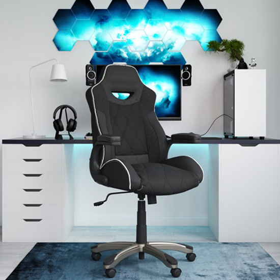 Silverstone Faux Leather Gome And Office Chair In Black_1