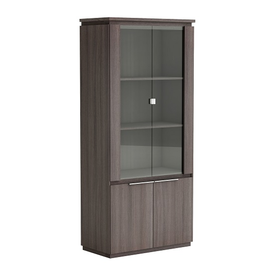 silvina glass display cabinet in vulcano oak with 4 doors