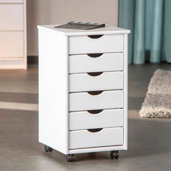 Simon Office Pedestal Cabinet In White With 6 Drawers_1