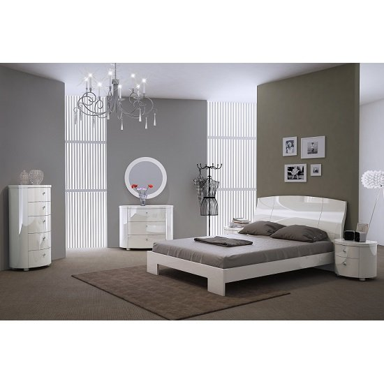 Victoria Modern Bed In White High Gloss_2