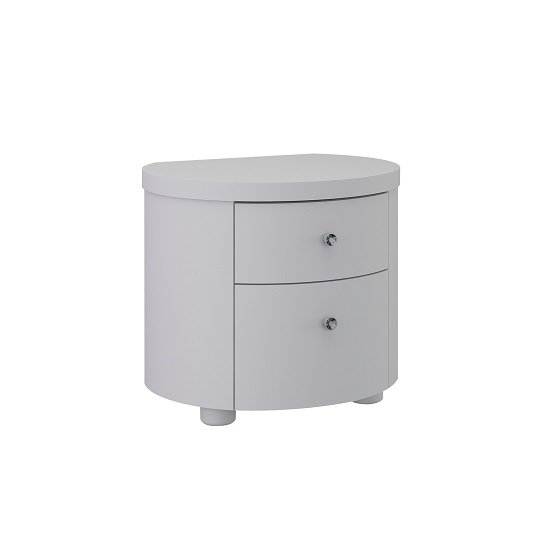 Victoria Bedside Cabinet In White High Gloss With 2 Drawers